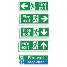 Fire Exit Sign Bundle - 13 sign bulk pack