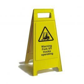 Warning Fork Lift Trucks Operating Free Standing Sign 600mm