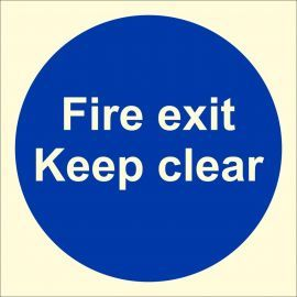 Glow In The Dark Fire Exit Keep Clear Door Sign