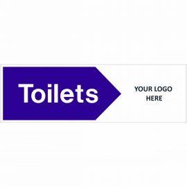 Toilets Arrow Right Door Sign