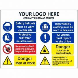 Danger Men At Work Multi Message Safety Board