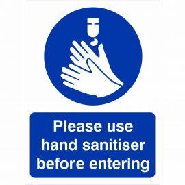 Please Use Hand Sanitiser Before Entering Hygiene Sign