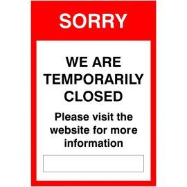 Sorry We Are Temporarily Closed Sign (Writable)