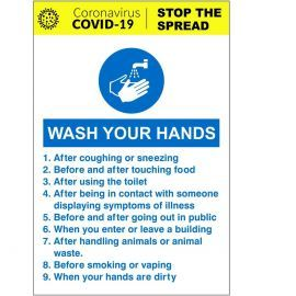 Wash Your Hands Coronavirus Covid 19 Sign