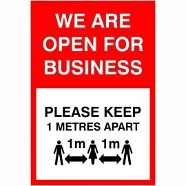 We Are Open For Business Social Distancing Sign - 1 Metre