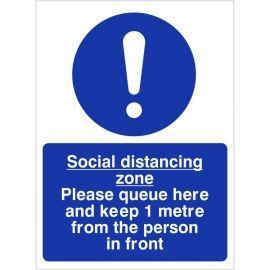Social Distancing Zone Sign - 1 Metre