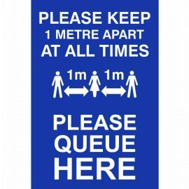 Please Keep 1 Metre Apart At All Times Sign