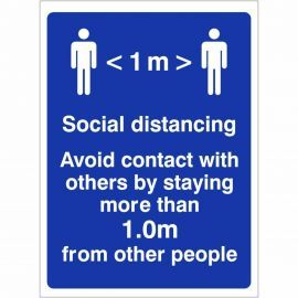 Avoid Contact With Others By Staying More Than 1.0m From Other People Sign