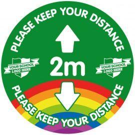 Custom Please Keep Your Distance 2 Metres School Floor Graphic Sign