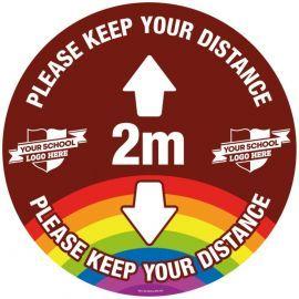 Custom Please Keep Your Distance School Floor Graphic Sign - 2 Metres (Brown)