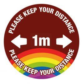 Please Keep Your Distance School Floor Graphic Sign - 1 Metre (Brown)