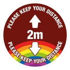 Please Keep Your Distance School Floor Graphic Sign - 2 Metres (Brown)