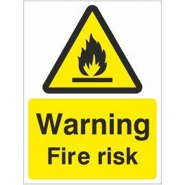 Warning Fire Risk Sign