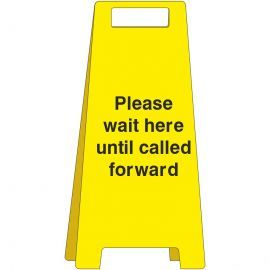 Please Wait Here Until Called Forward Freestanding Covid Sign