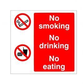 No Smoking No Drinking No Eating Sign