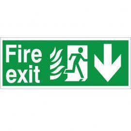 Hospital Compliant Fire Exit Arrow Down Sign