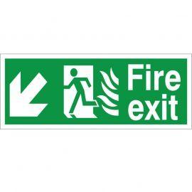 Hospital Compliant Fire Exit Arrow Down Left Sign