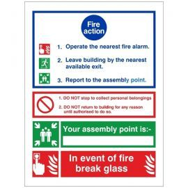 3 Point Fire Action Notice Sign - In Event Of Fire Break Glass (Writable)