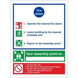 3 Point Fire Action Notice Sign - Complete With Space To Write Assembly Point Location