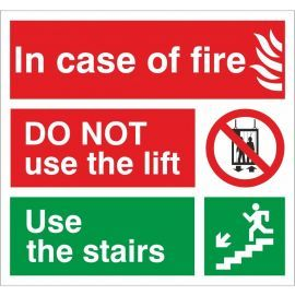 In Case Of Fire Do Not Use The Lift Use The Stairs Fire Action Notice Sign
