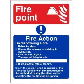 4 Point Fire Action Notice Sign For Caravans - On Discovering A Fire