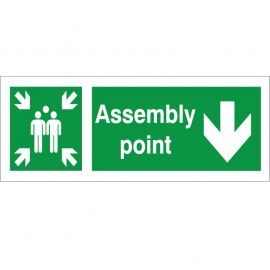 Assembly Point Arrow Down Sign