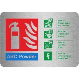 Brushed Aluminium Effect ABC Powder Fire Identification Sign 150mm x 100mm