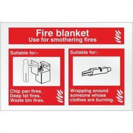 Brushed Aluminium Effect Fire Blanket Fire Identification Sign - 150mm x 100mm