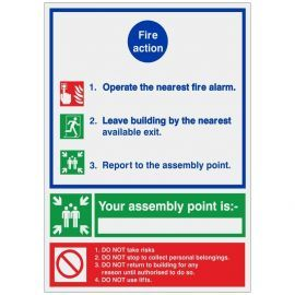 Brushed Aluminium 3 Point Fire Action Notice Sign