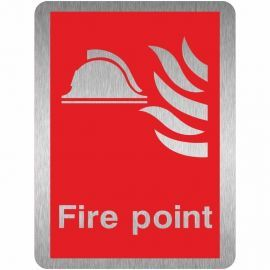 Brushed Aluminium Effect Fire Point Sign