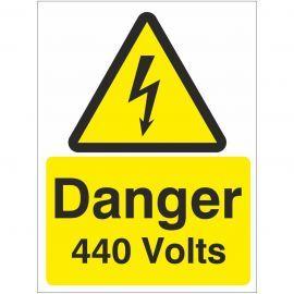 Danger 440 Volts Safety Sign