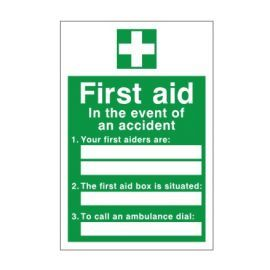 First Aid In The Event Of An Accident Sign