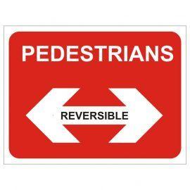 Pedestrians Left Pedestrians Right Reversible Temporary Traffic Sign