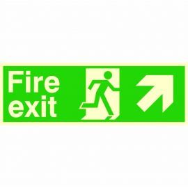 Fire Exit Arrow Up Right  Glow In Dark Sign