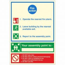 3 Point Glow In The Dark Fire Action Sign - Your Assembly Point Is