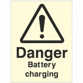 Photoluminescent Danger Battery Charging Sign