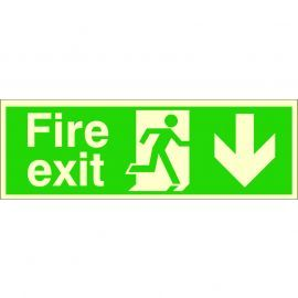 Glow In The Dark Fire Exit Arrow Down Sign