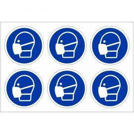 Pack of 24 Wear Mask Labels 100mm in Diameter