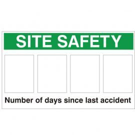Site Safety Sign - Number Of Days Since Last Accident 900Wmm x 600Hmm