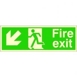 Glow In The Dark Fire Exit Arrow Down Left Sign