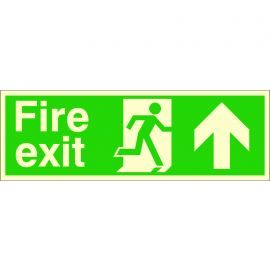 Glow In The Dark Fire Exit Arrow Up Sign
