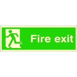 Fire Exit 'Man Running Left' Glow In Dark Sign