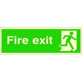 Photoluminescent Fire Exit 'Man Running Right' Sign