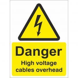 Danger High Voltage Cables Overhead Safety Sign