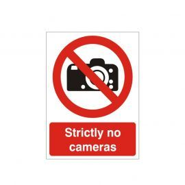 Strictly No Cameras Sign Or Sticker