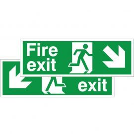 Fire Exit Sign - Down Left/Right (Double Sided) - Complete With 2 Hooks And 2 Clips