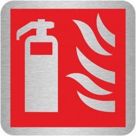 Brushed Aluminium Effect Fire Extinguisher Symbol Sign