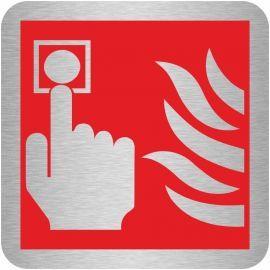Brushed Aluminium Fire Alarm Sign