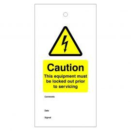 Caution This Equipment Must Be Locked Out Prior To Servicing Warning Tags