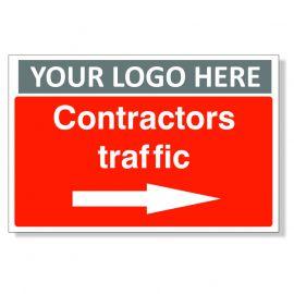 Contractors Traffic Arrow Right Custom Logo Sign